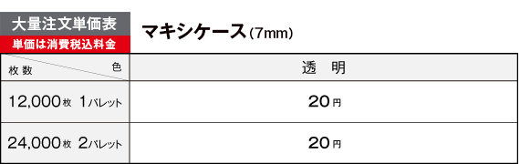 マキシケース大量注文価格表